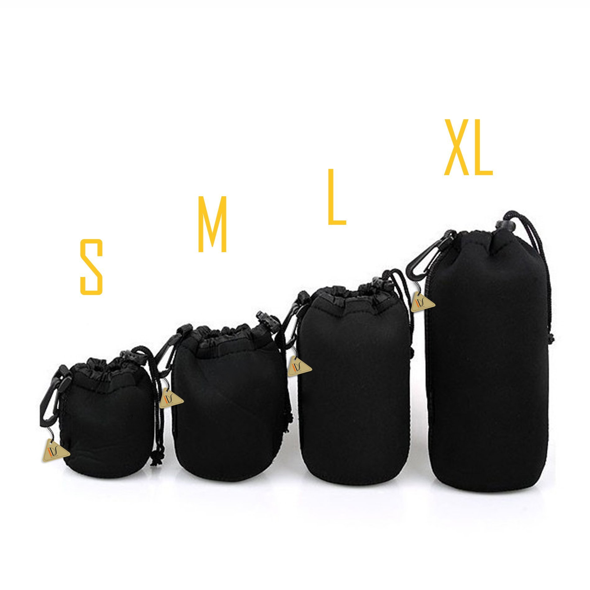 4Pcs Protective Neoprene Lens Pouch for Canon Nikon Sony Lenses S+M+L+XL by IDS Home