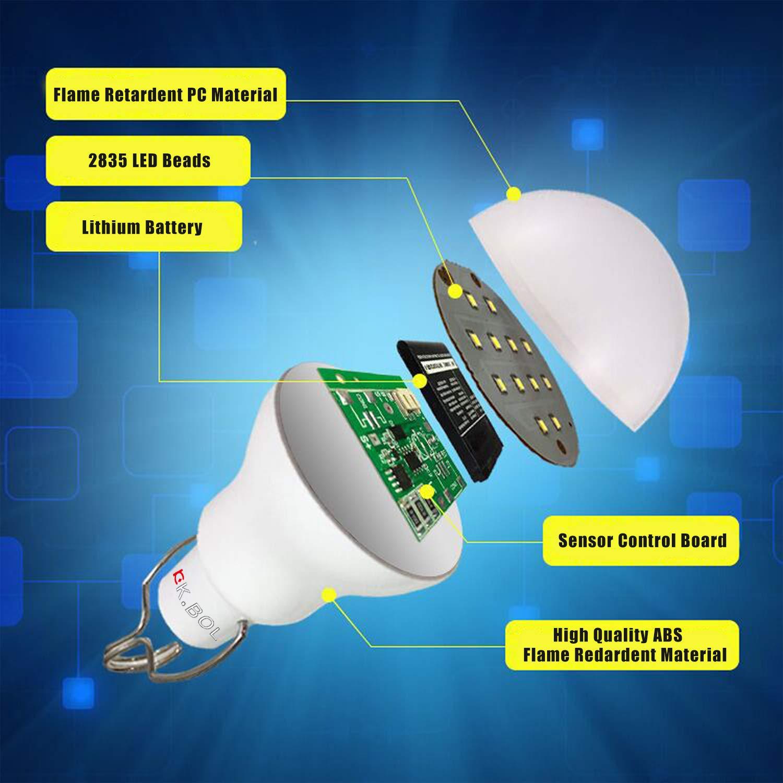 KK BOL L/ámpara Solar Port/átil LED Bombilla Panel Solar Alimentado Recargable Solar LED Luces L/ámpara Sensor 3GS-1200