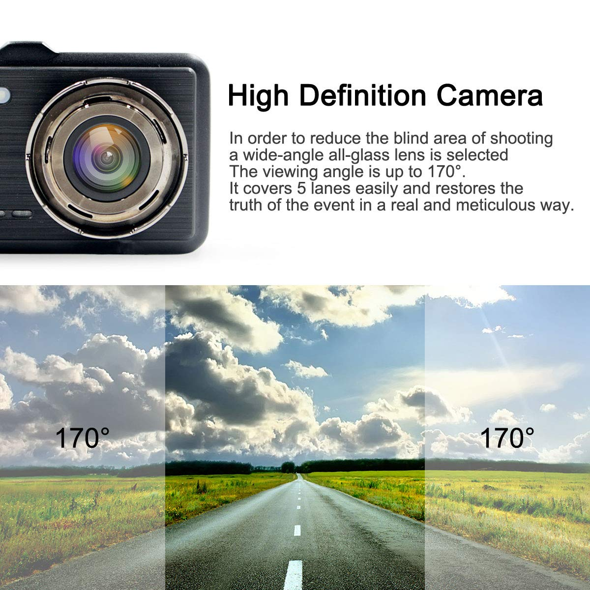 WDR Poetele-R 4 Inch Screen Dash Cam 1080P Car DVR Dashboard Camera Full HD with Dual Lens Front and Rear,170/°Wide Angle Loop Recording Parking Monitor G-Sensor Motion Detection 4350447806