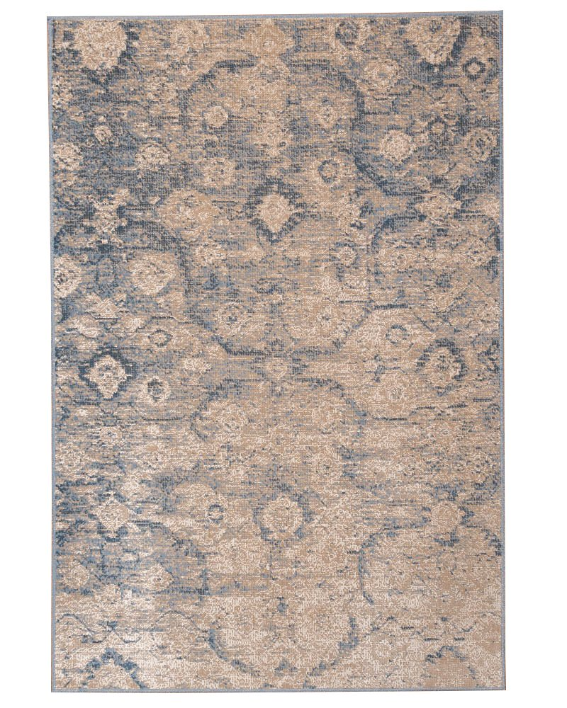 NaturalAreaRugs Iris Vintage Turkish Polypropylene Rug, Traditional, Stain Resistant, Durable, Eco-Friendly Blue/Beige (5 Feet 3 Inches X 7 Feet 7 Inches) Natural Area Rugs 10973