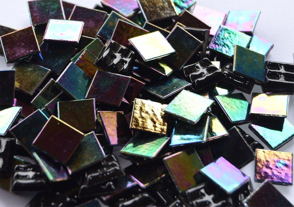 Glasmosaiksteine schimmernd 1,5x1,5cm schwarz 145g ca 100 St