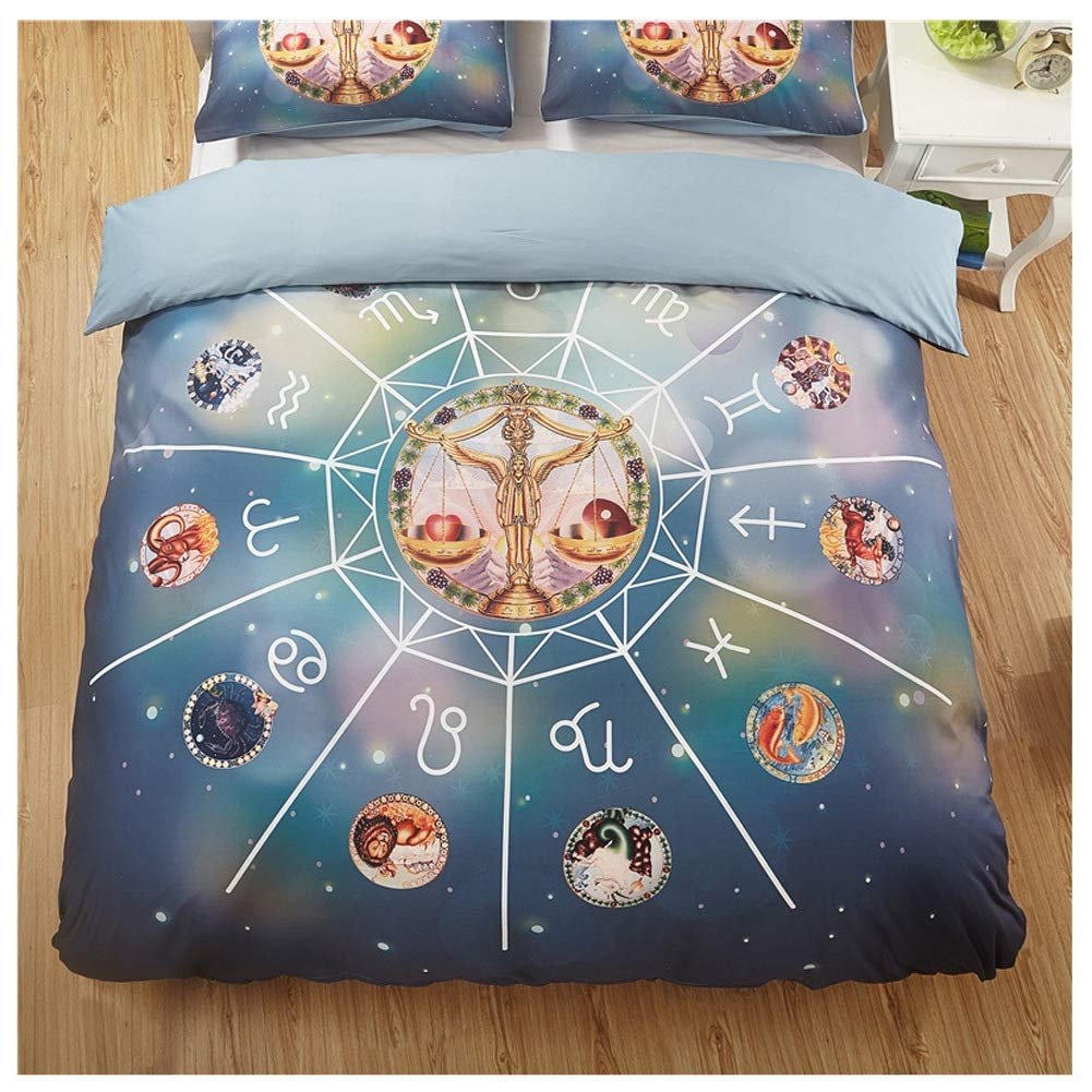 Bedding Duvet Cover Set Duvet Cover Set with Zipper Closure Baddage for Fix Quilt Bedding Set Fade & Stain Resistant Twelve Constellations 3D Printing and Dyeing 5 Styles by OZYN-Duvet Covers