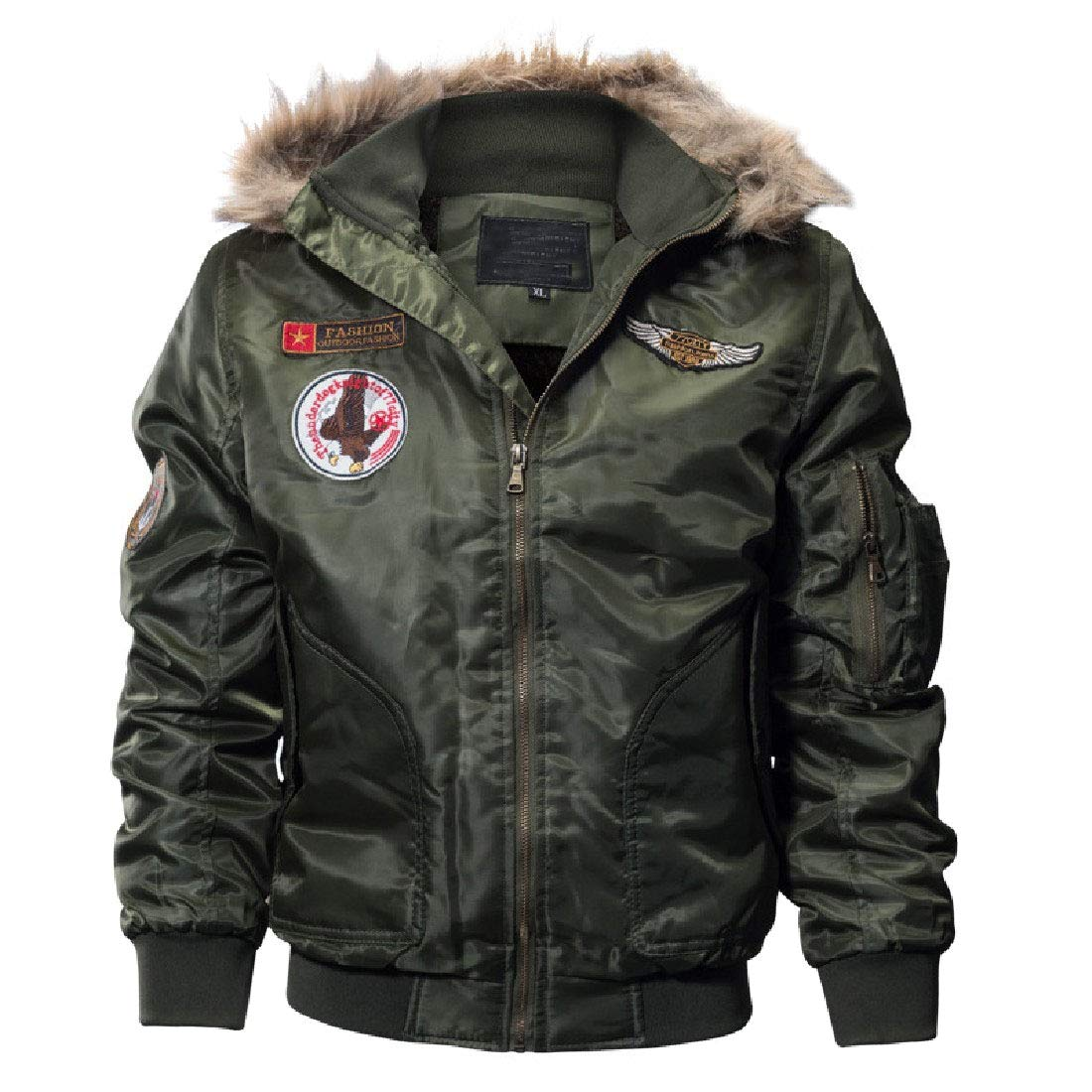 Andopa Mens Oversized with Faux Fur Trim Hood Military Rider Parka Anorak