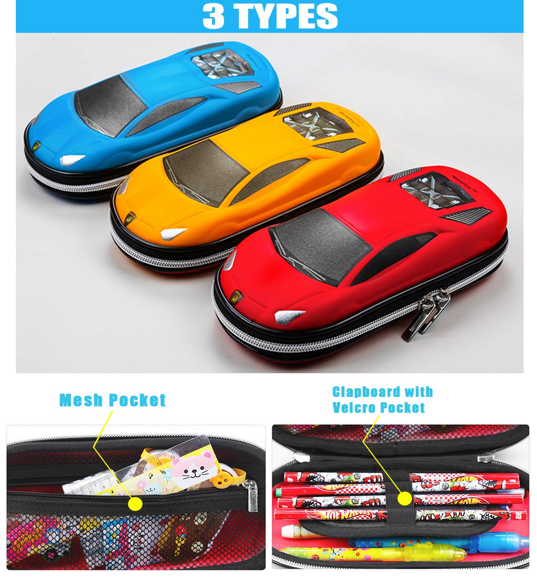 Supercar Pencil Case EVA Car Pen Pouch Stationery Box Anti-Shock for School Students Boys Teens