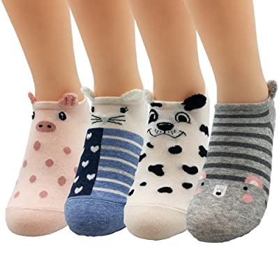 4 Pairs Women Animal Design No Show Socks Girls Low Cut Liner Ankle Socks