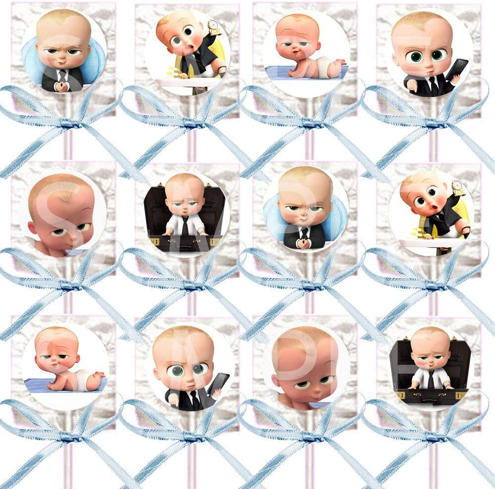 Boss Baby Lollipops Party Favors Supplies Decorations Movie Lollipops w/Light Blue Ribbon Bows -12 pcs