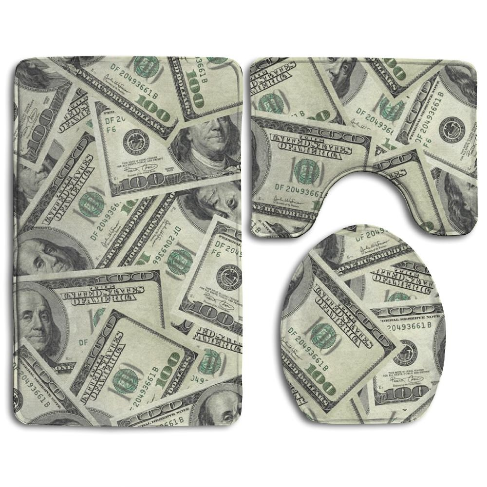 "100 Dollar Money Slip-Resistant 3 Piece Bathroom Rug Set Extra Soft Flannel Non-slip Bath Rug 31"" X 20"" - Contour Rug 20"" X 16"" - Lid Cover 14"" X 17"""