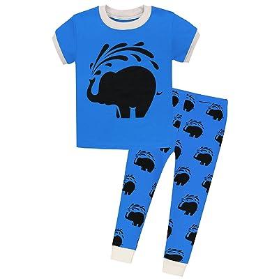 0c1e84921f AMGLISE Kids Little Boys Elephant Short Sleeve Pajamas 2 Piece Set 100% Cotton  Sleepwear PJS Blue (12M-7Years)