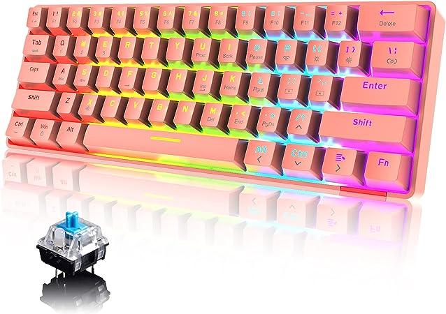60% Teclado mecánico Cableado/inalámbrico Teclado Bluetooth 61 teclas RGB Rainbow LED con retroiluminación USB Type-C Teclado para juegos a prueba de ...