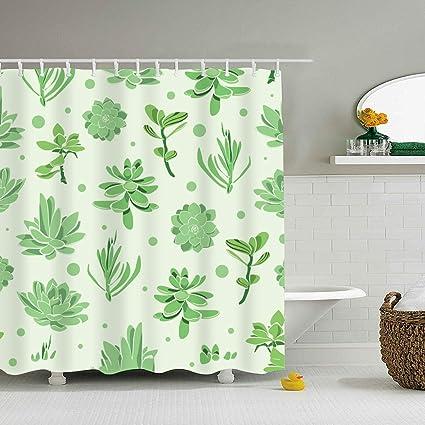 Succulent Garden Seamless Shower CurtainWaterproof Polyester Fabric CurtainsDecorative Curtain For