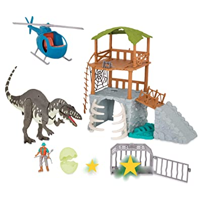 Terra by Battat - Jungle Expedition Big Playset– Electronic Dinosaur Acrocanthosaurus & Helicopter with 2 Surprise Dinosaur Toys for Kids Age 3+ (13 Pc): Toys & Games
