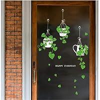 Muursticker Opknoping mand Potted Green Plants Schil, Verwijderbare DIY Zelfklevende Groene Muurstickers, Muur Art…