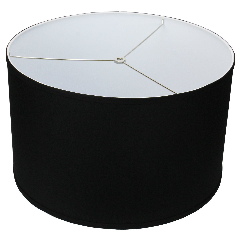 FenchelShades.com 18'' Top Diameter x 18'' Bottom Diameter 11'' Height Cylinder Drum Lampshade USA Made (Black)