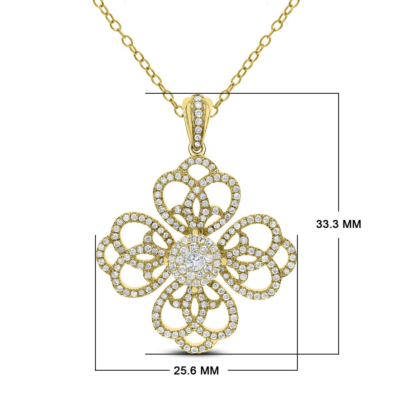 9e903688f4b3fc DIAMOND COUTURE 14K Floral Diamond 0.75 Carat 16