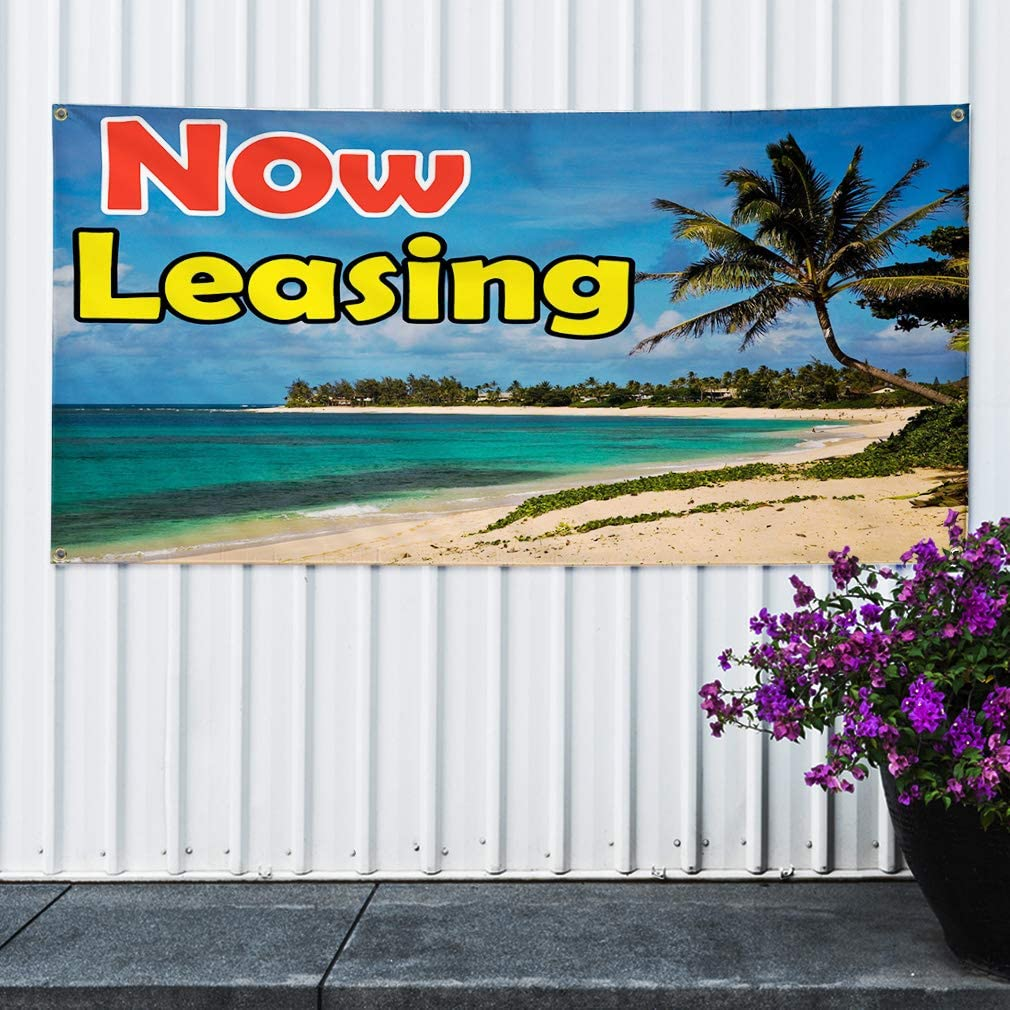 4 Grommets Vinyl Banner Sign Now Leasing Blue Green Yellow Business Marketing Advertising Blue Multiple Sizes Available 28inx70in Set of 2