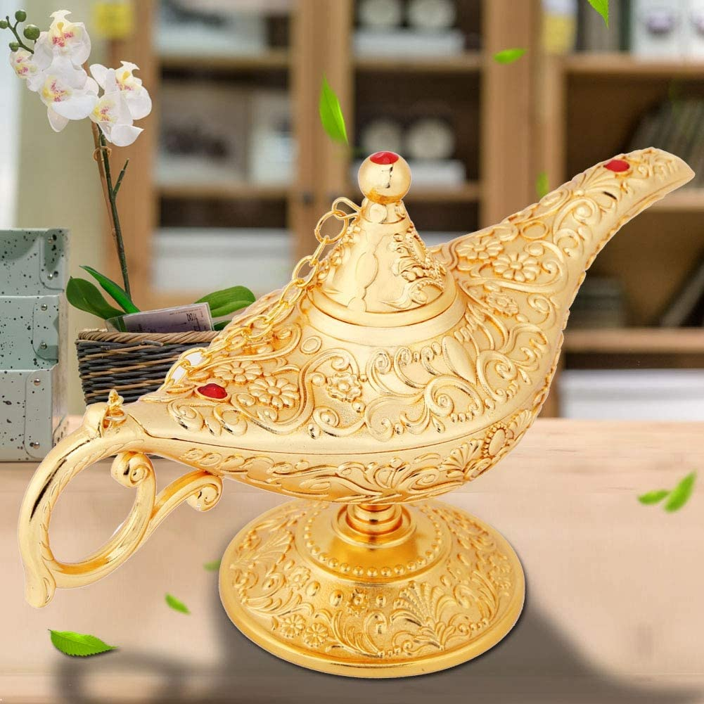 souhaitant Une Lampe /à Huile Pot /à th/é Or Lampe /à Huile en m/étal s l/égende en m/étal sculpt/é d/écoration de larticle dameublement r/étro Lampe /à Huile Vintage Anti-oxydation