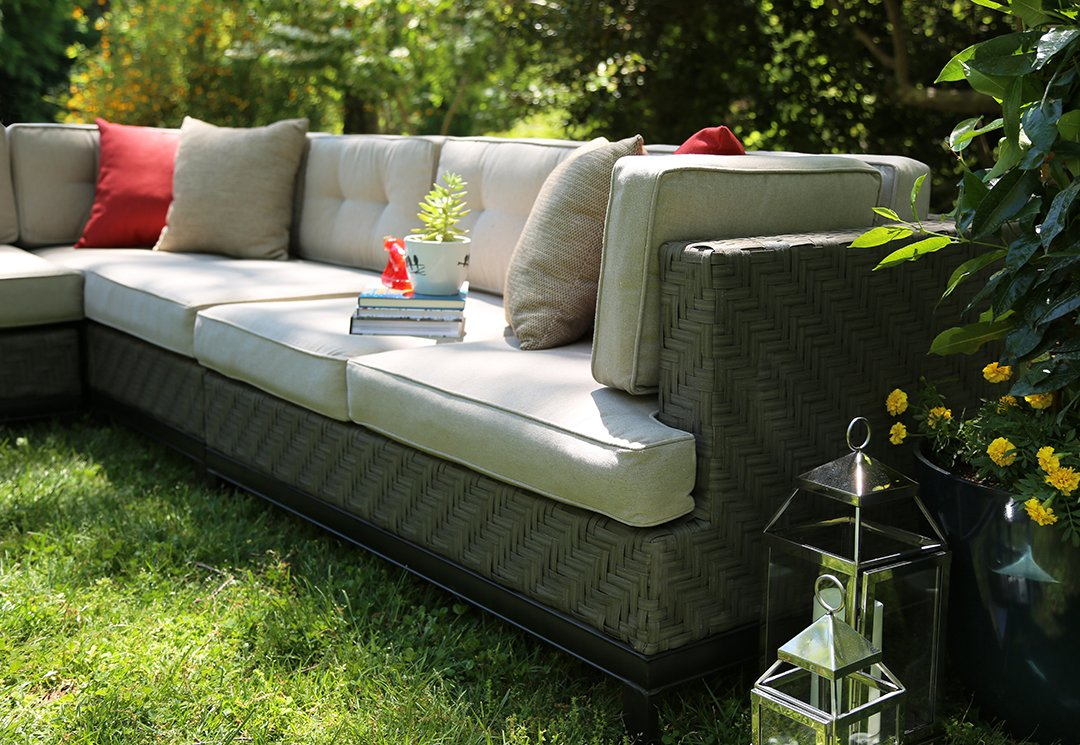 amazoncom ae outdoor 4piece camilla all weather wicker sectional with sunbrella fabric patio lawn u0026 garden - Sectional Patio Furniture