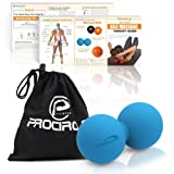 PROCIRCLE Double Massage Ball - Therapy Peanut Ball, Stress Ball & Double Lacrosse Ball - Deep Tissue Massage Tool for Back, Foot, Neck (blue)