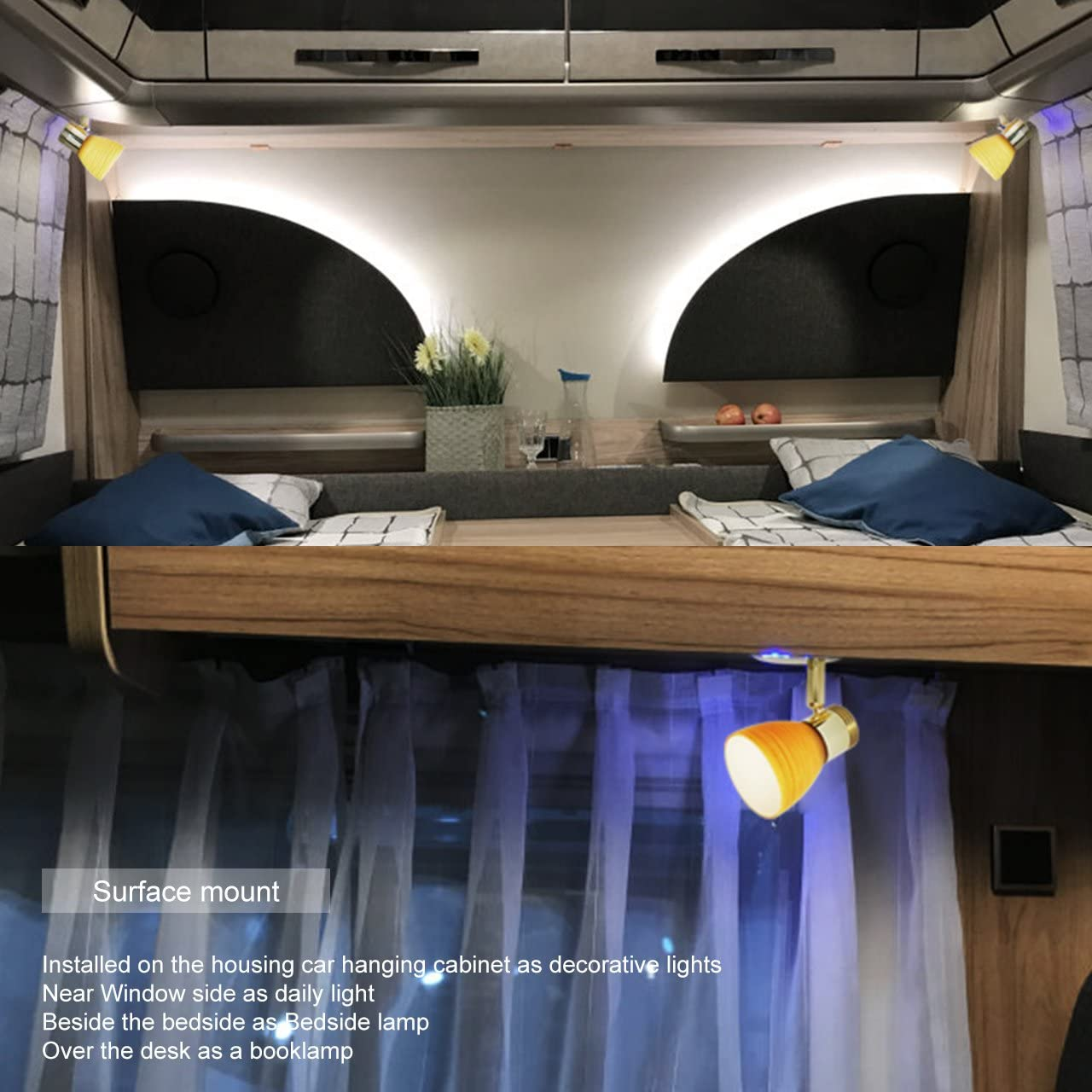 Pack of 2 as Boat Motorhouse Interior Lights RV Reading Wall Lamp with USB Socket- DC 12V Soft Warm White for Automotive Trailer Desk Bedside Book Dimmer Touch Switch with Blue Night Decor Light