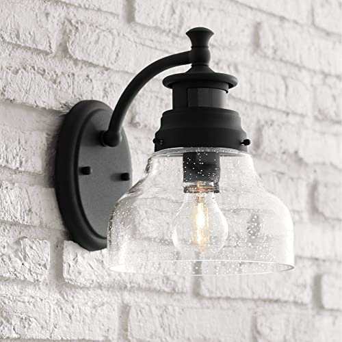 Nobel Modern Outdoor Wall Light Fixture Black 10″ Open Bottom Clear Seedy Glass Motion Security Dusk to Dawn Sensor