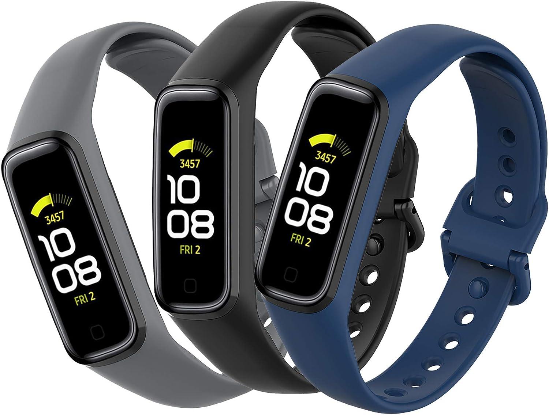 Mijobs [3 Piezas Compatible para Samsung Galaxy Fit 2 Correas, Correas Samsung Galaxy Fit 2 Reemplazo Pulsera Impermeable Transpirable Resistente al Sudor Silicona Pulsera Correa (No Host)