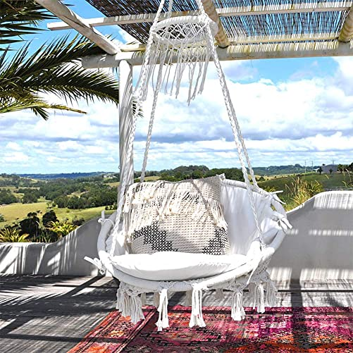 Sonyabecca Hanging Chair Macrame Hammock Swing Chair Large Size wih Top CircleTassels 265 Pound Capacity Handmade Knitted Hangingfor Indoor Outdoor Home Patio Deck Yard Garden Reading Leisure Lounging