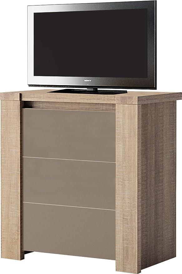 Mueble para televisor madera de roble 1 puerta de cristal frontal ...