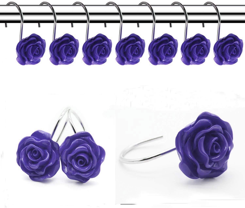 FINROS 12 PCS Home Fashion Decorative Anti Rust Shower Curtain Hooks Rose Design Shower Curtain Rings Hooks WHITE