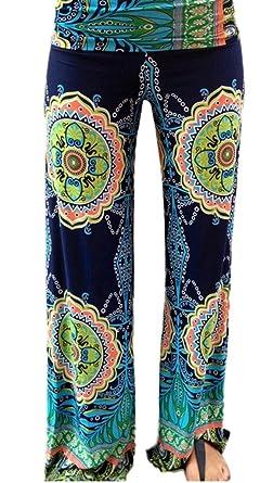 Bigood Pantalon Lâche Femme Large Jambe Danse Sport Yoga Jogging Imprimé  Tour Taille 65-67cm 30c56ba3b38d