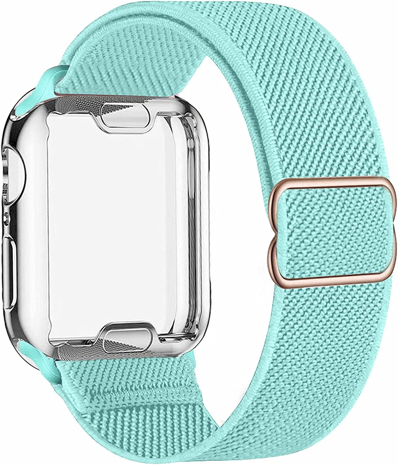 ADWLOF Stretchy Solo Loop with Screen Protector Case Compatible with Apple Watch Bands 44mm,Adjustable Braided Sport Nylon Elastics Men Women Compatible with iWatch Series 6/5/4/3/2/1,SE,Mint Green
