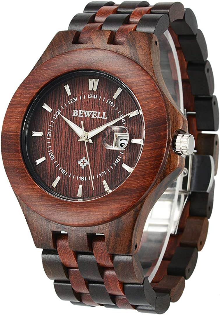 BEWELL Wood Watches for Men 46MM Large Size Handcraft Analog Quartz Wooden Watch