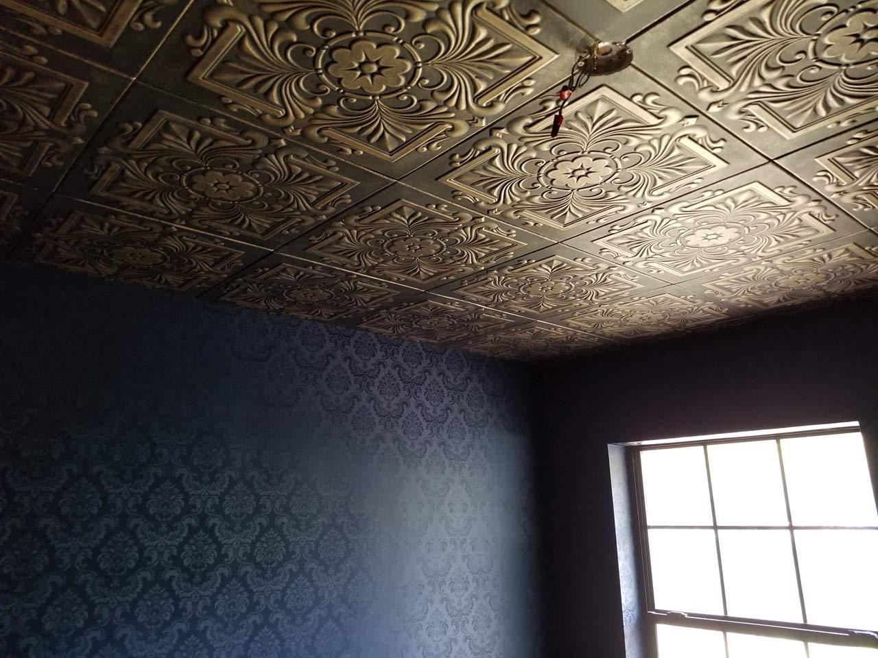 A la Maison Ceilings 1594 Victorian - Styrofoam Ceiling Tile (Package of 8 Tiles), Plain White