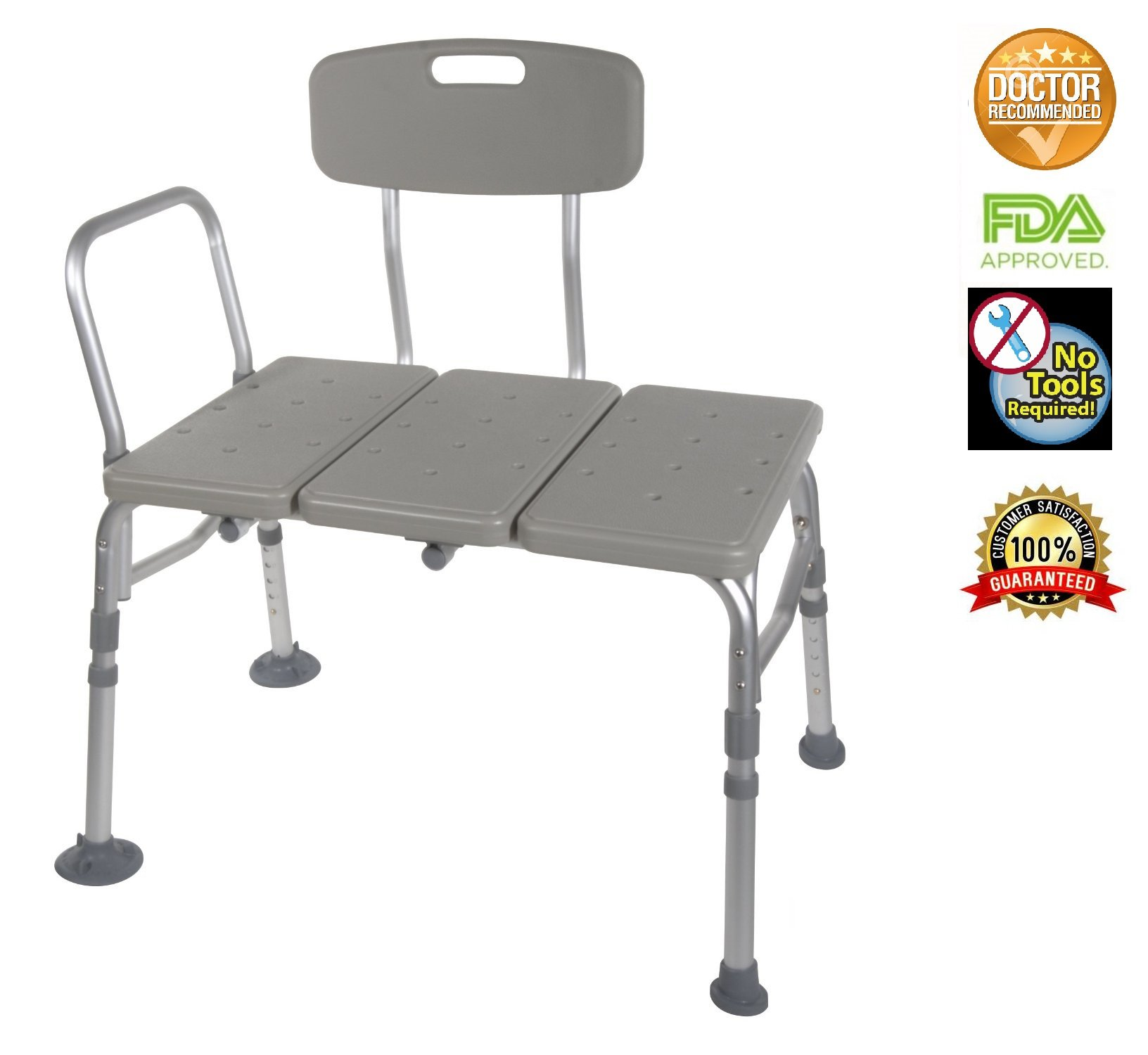 Transfer Bench Adjustable Height Legs, Lightweight Plastic Benches for Bath Tub and Shower with Back Non-slip Seat, Grey