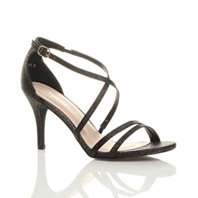 Womens Ladies Mid Low High Heel Strappy Crossover Party Wedding Prom Sandals Shoes Size RD_1870
