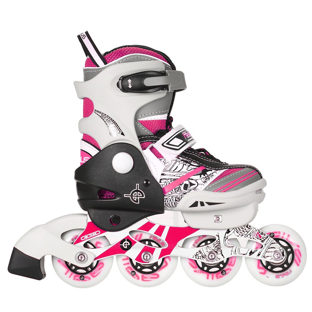 Lixada Kids Inline Skate Breathable Mesh Roller Skates 4 Sizes Adjustable with Double Secure Lock for Boy's and Girl's , Red/Pink/Blue