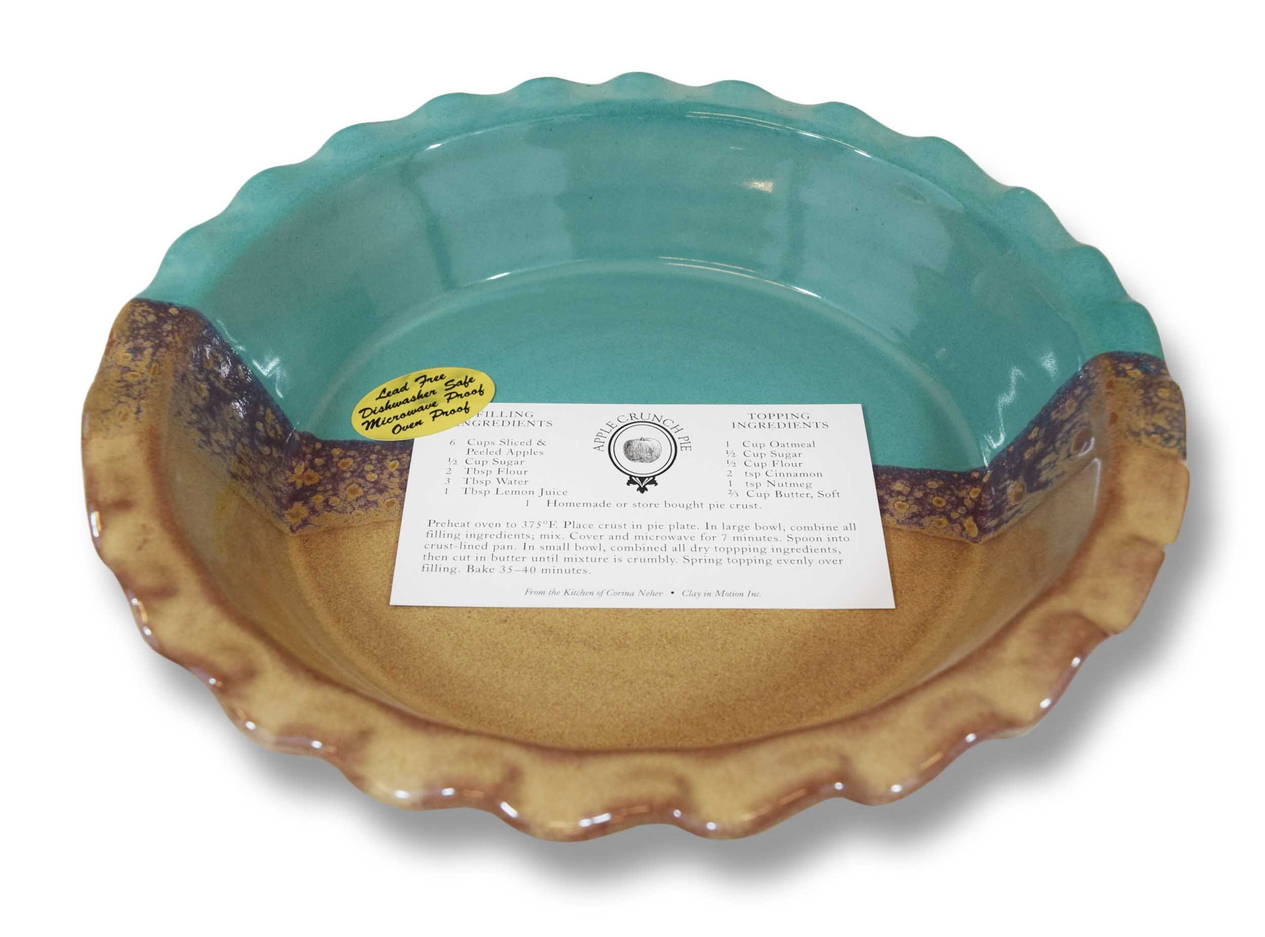 Clay In Motion Handmade Ceramic Deep Dish 9'' Pie Plate - Island Oasis