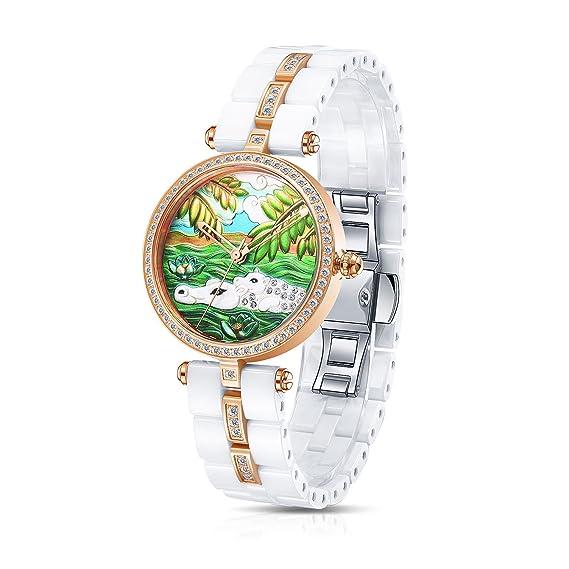 Time100 W50352L.03A Lujo Mujeres Joyería de diamante Correa de cerámica reloj de cuarzo mujer