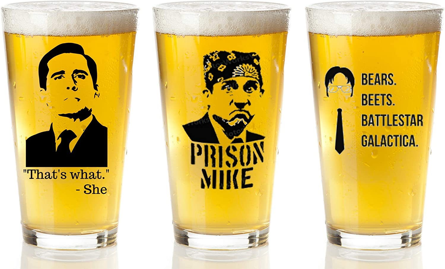 The Office Merchandise 3-Pack beer Glasses Set - That's What She Said, Prison Mike, Bears Beets Battlestar Galactica