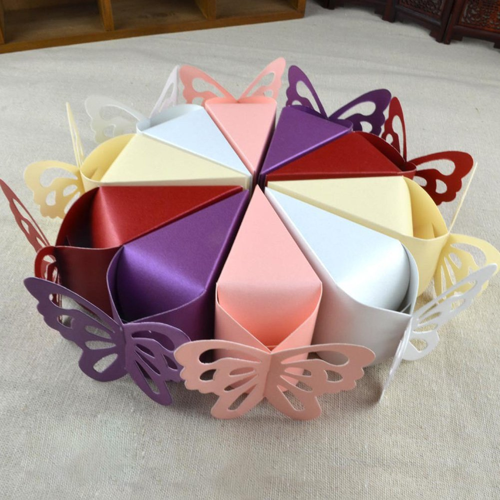 Beige iShine 50pcs Cajas de Boda para Bombones Caramelos de Dulces Bodas Fiestas