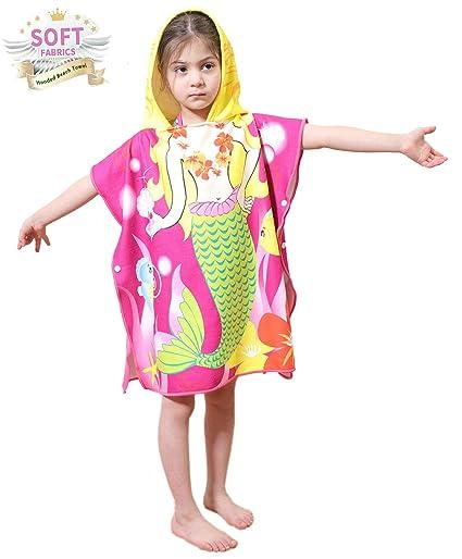 99a3ef895918a Amazon.com: Toddler Hooded Beach Bath Towel – Mermaid Soft Swim Pool ...
