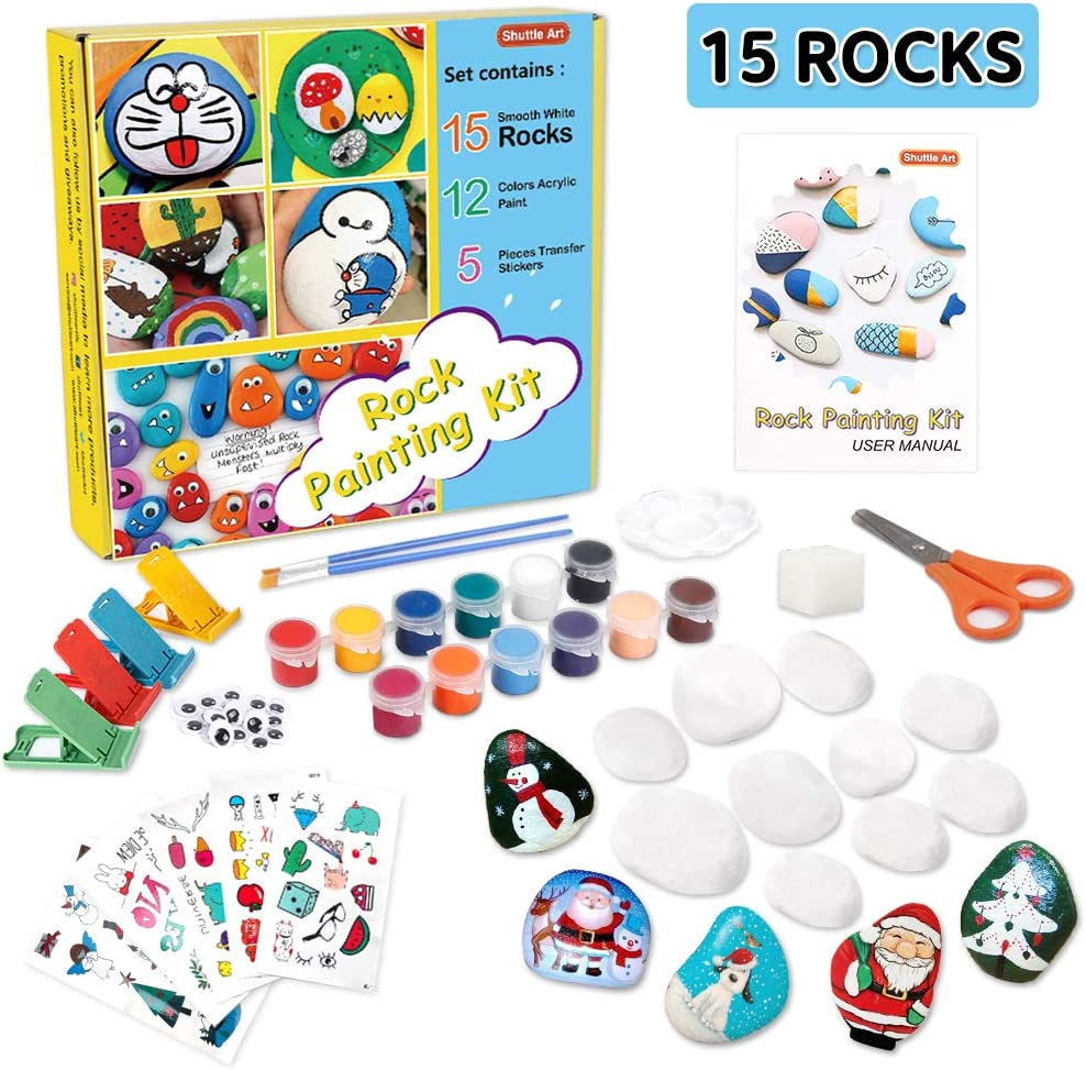 Rock Painting Kit, Rock Painting Supplies for Kids with 15 White Painting Rocks, 12 Colors Acrylic Paint, 20 Googly Eyes,5 Pieces Transfer Stickers,4 Glitter Glue, Great Gift for Boys Girls