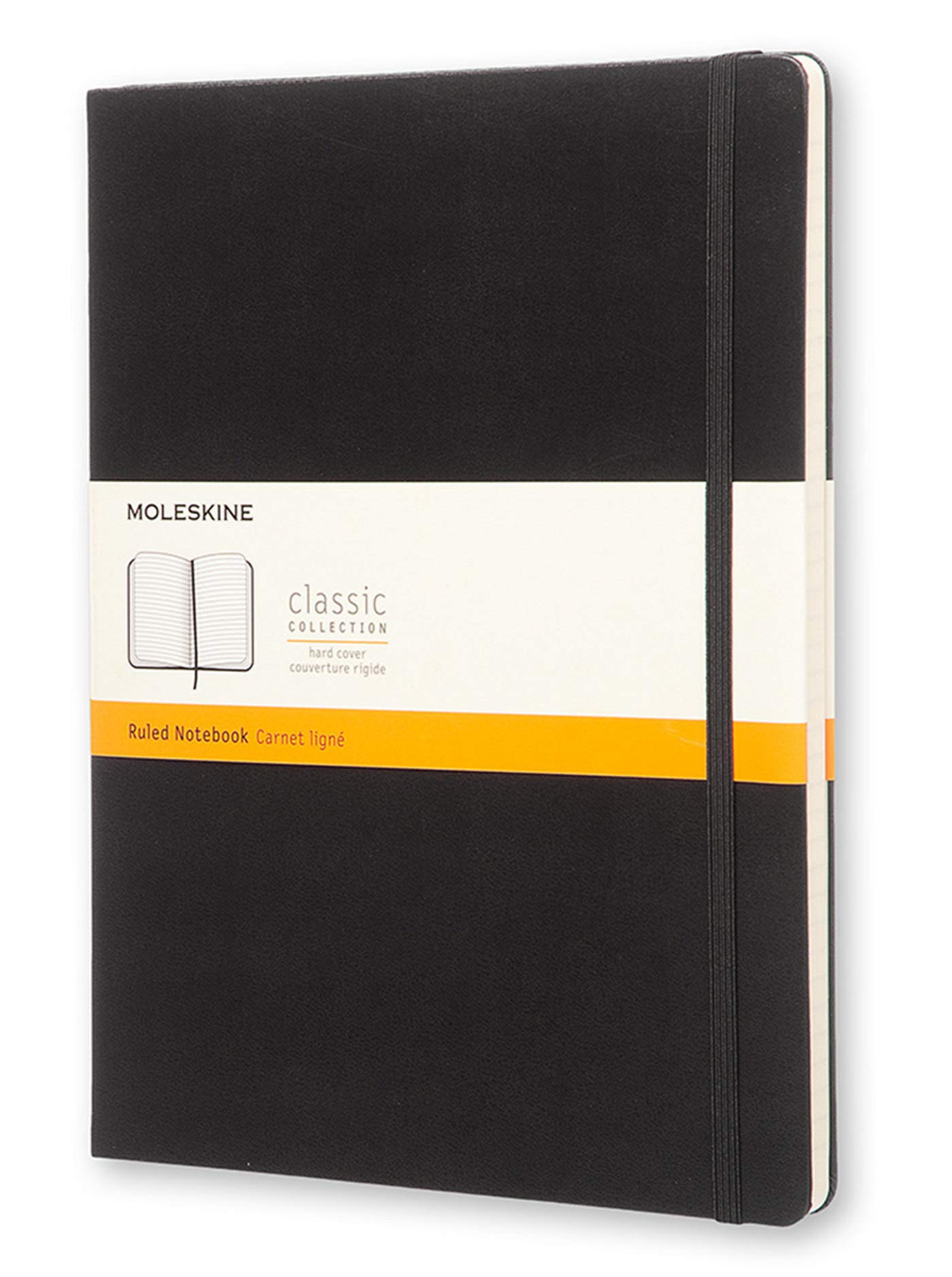 Moleskine Classic Notebook, Hard Cover, XL (7.5'' x 9.5'') Ruled/Lined, Black by Moleskine
