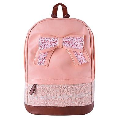 Coofit Girls Backpack Vintage Canvas Bow Cute Rucksack Schoolbag