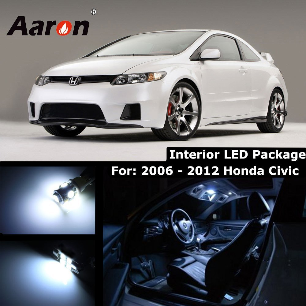 Amazon.com: Aaron Cool White Interior Lighting LED Kit for 2006-2012 Honda  Civic (Map x2/Dome x1/Trunk x1/license Plate x2): Automotive