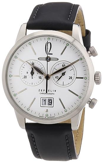 Zeppelin Watches - Reloj analógico para hombre con correa de piel, color negro: Amazon.es: Relojes