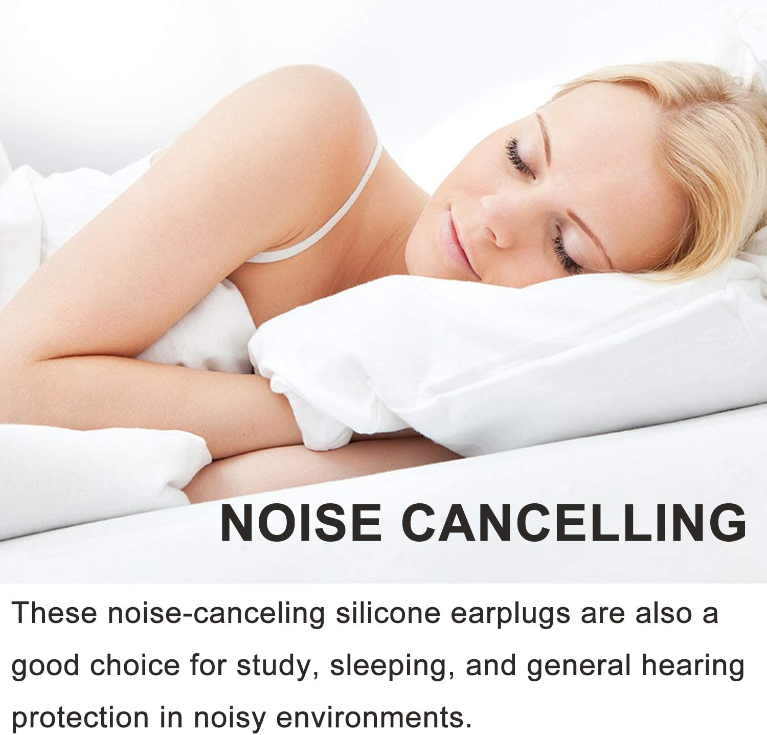Ear Plugs for Sleeping, Reusable Silicone Moldable Noise Cancelling Sound Blocking Reduction Earplugs for Swimming, Snoring, Concerts, Shooting, Airplanes, Musicians, 32dB Highest NRR: Health & Personal Care
