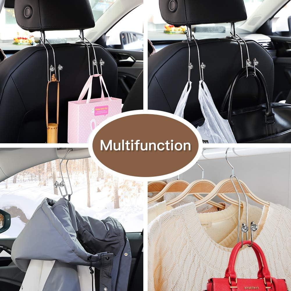 SAVORI Car Vehicle Back Seat Headrest Hook Hanger Bling Auto Rhinestones Storage Hangers Car Organizer for Purse Groceries Bag Handbag White, 2 Pack