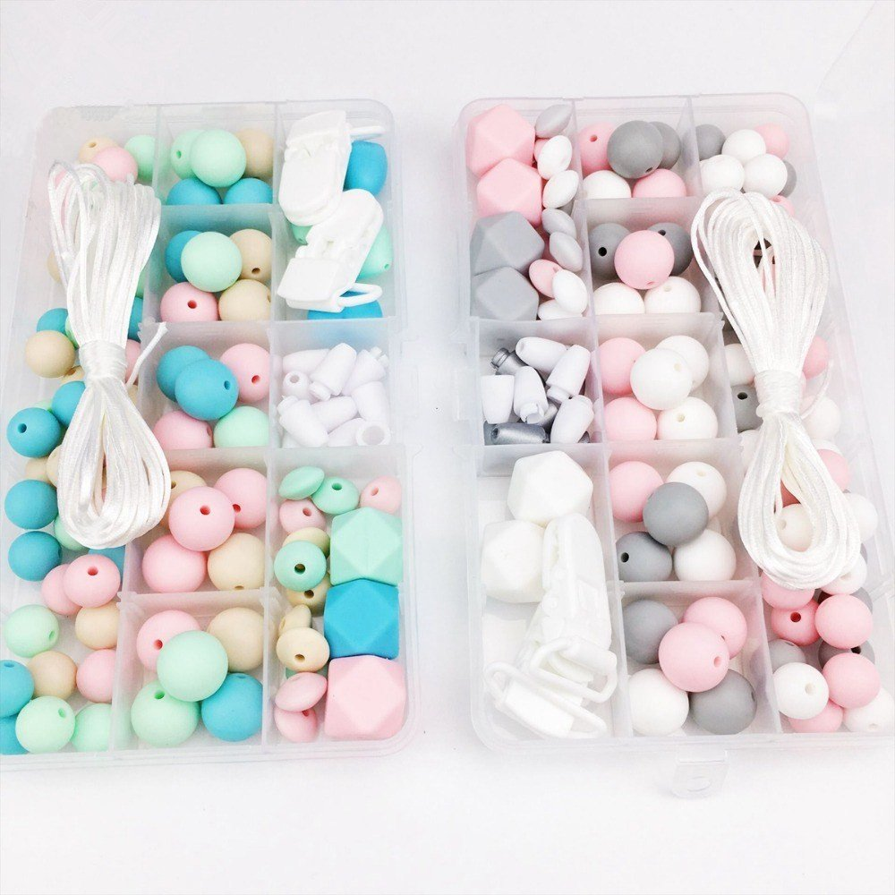 baby love home 2 Set Baby Teether Silicone Colorful Beads Kit Nursing Necklace Beads for Baby Pacifier Clip Rattle Silicone Waldorf Toy DIY Nursing Necklace Accessories