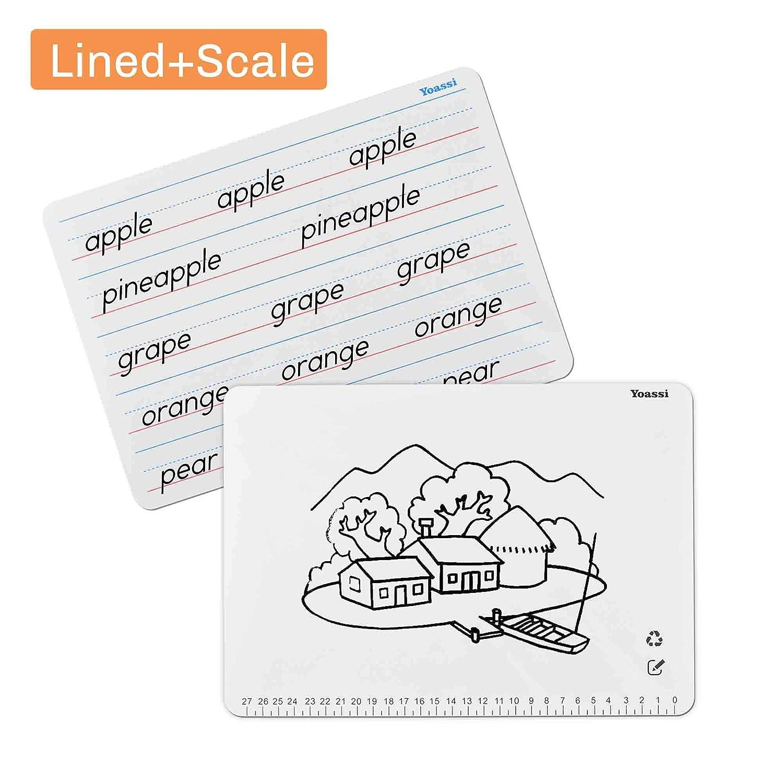 Kinder Lernen Tragbare Schreibtafel Doppelseitig mit 8 Magnetischen Aufklebern und 2 Stift Marker Yoassi 2 x Whiteboard A4 Lese und Schreibunterricht//Notizen//Einkauflisten