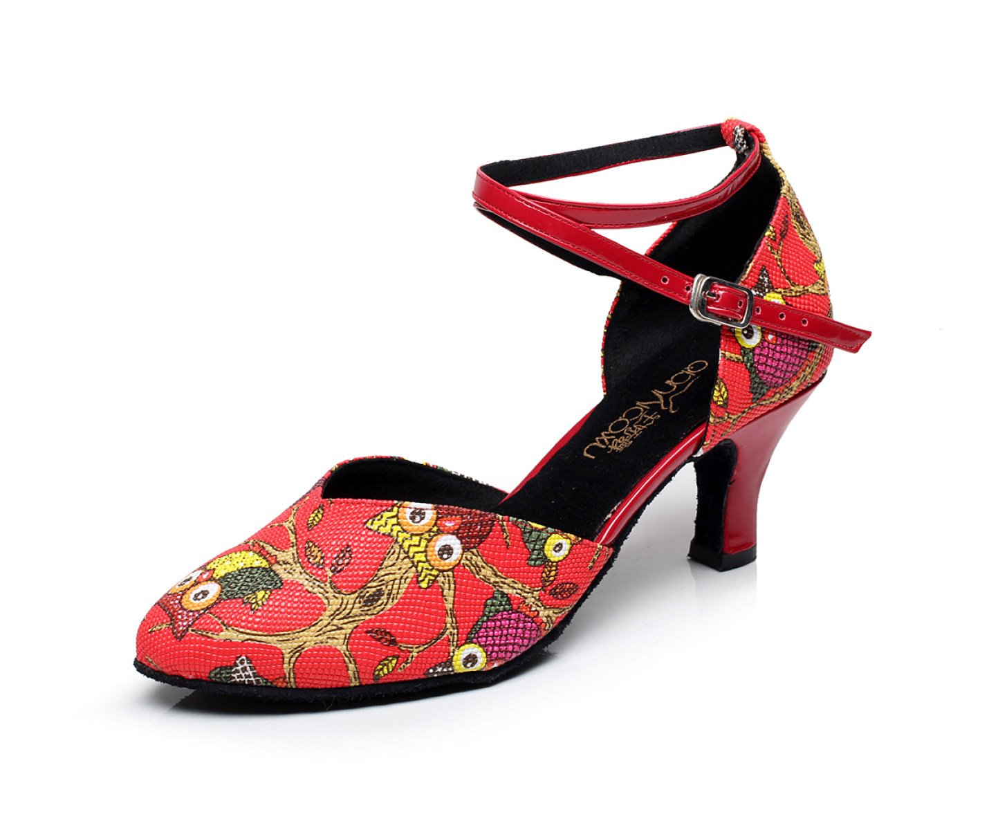 JSHOE Cross Damen Cross JSHOE Strap Leder Latin Salsa Ballroom Dance,ROT-heeled5cm-UK3/EU33/Our34 - 7215fd